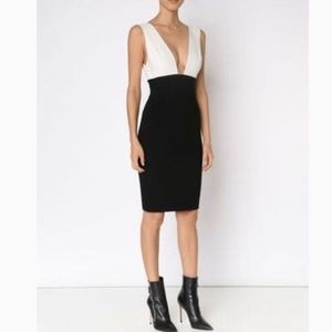 Alice + Olivia two tone deep V neck dress
